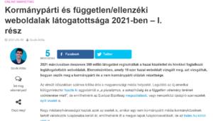 Kormánypárti, ellenzéki weboldalak látogatottsága 2021
